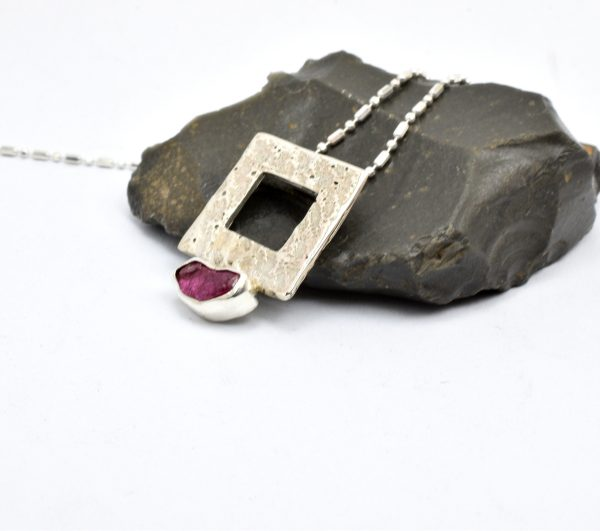 Sterling silver raw ruby pendant,