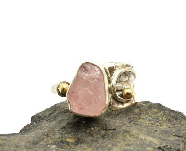 raw morganite stone silver ring