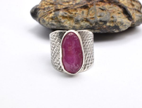 Sterling silver raw ruby ring