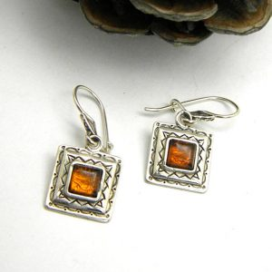 Amber earrings sterling silver