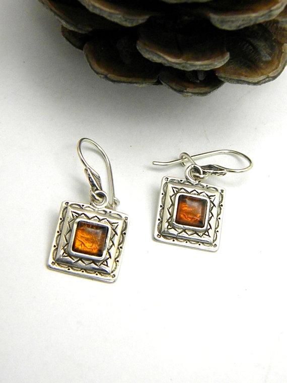 Amber earrings sterling silver