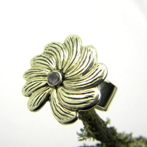 Sterling silver flower ring amethyst
