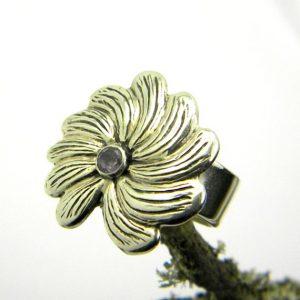 Sterling silver flower ring amethyst