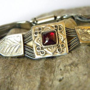 Sterling silver garnet bracelet multi chain