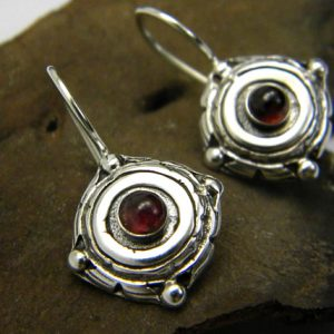Small silver earrings, garnet stone