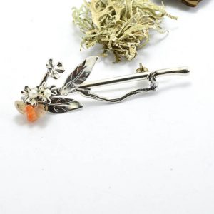 Sterling silver pearl brooch twig