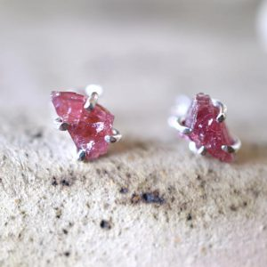 Raw garnet studs silver earrings