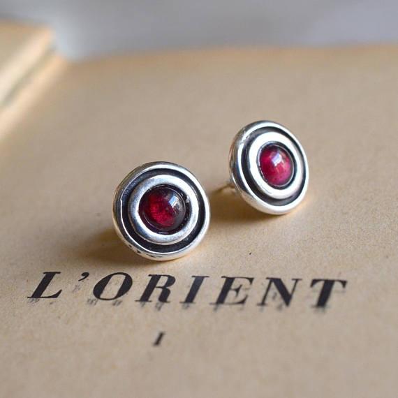 Post garnet earrings sterling silver