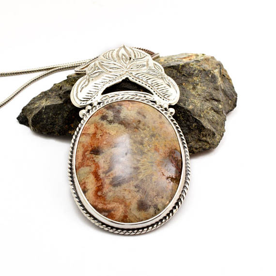 Crazy lace agate necklace sterling silver