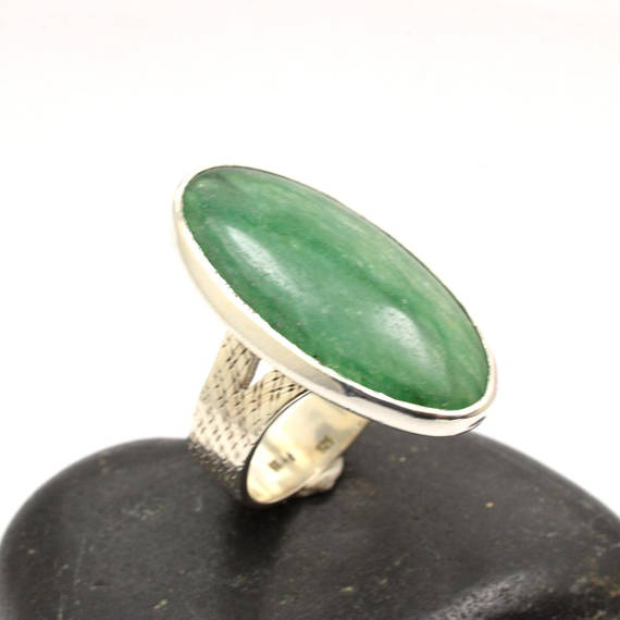 Large Jade ring, sterling silver