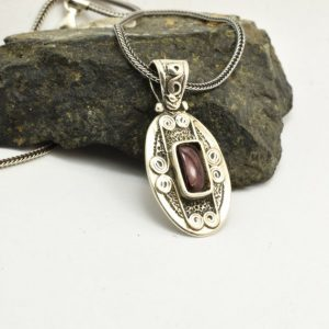 Garnet necklace sterling