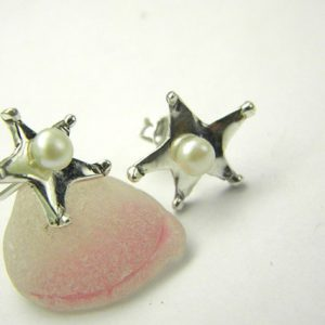 Star earrings sterling silver pearl