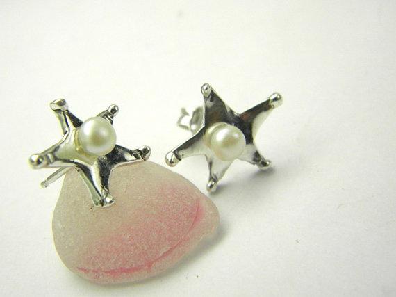 Star earrings sterling silver pearl