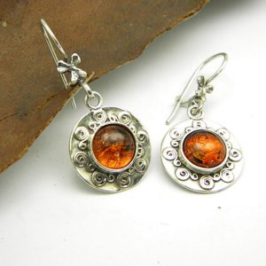 Amber earrings sterling silver dangle