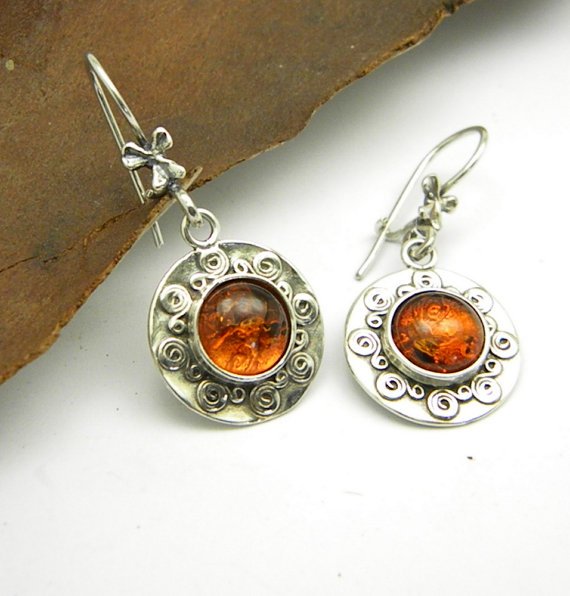 Amber earrings sterling silver dangle