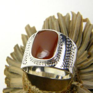 sterling silver Carnelian men's ring