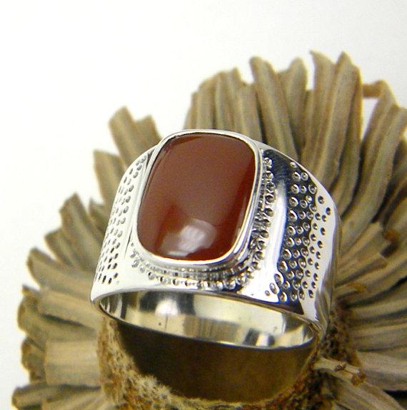 sterling silver Carnelian men's ring