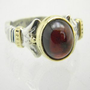 Garnet sterling silver gold ring Garnet oval 14k yellow