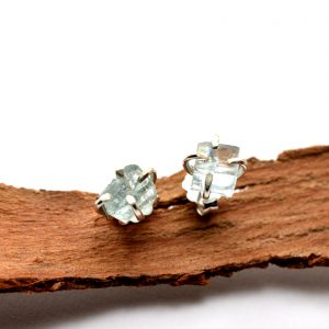 sterling silver raw aquamarine earrings studs