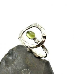 Silver peridot ring adjustable delicate band