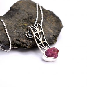 Raw ruby necklace in sterling silver