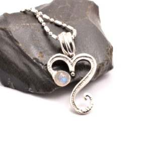 sterling silver heart necklace and labradorite