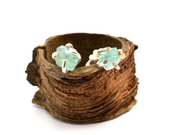 raw apatite earrings