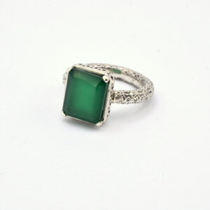 Statement green onyx ring in sterling silver