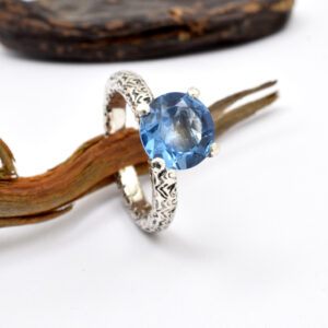 Statement blue topaz ring in sterling silver